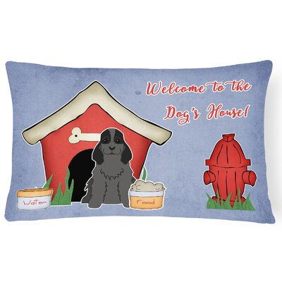 Wildlife Dog House Handmade Indoor/Outdoor Fabric Lumbar Pillow Color: Black