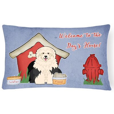 Dog House Contemporary Purple/Red Indoor/Outdoor Lumbar Pillow