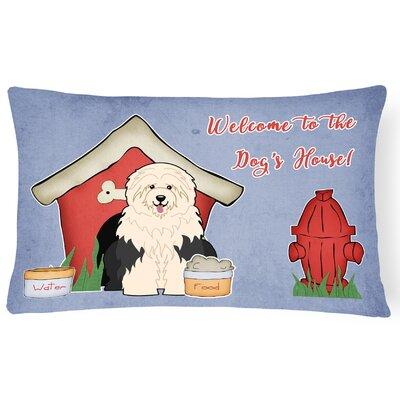 Dog House Contemporary Purple/Red Indoor/Outdoor Lumbar Pillow