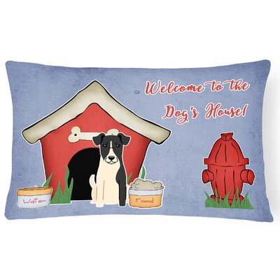 Dog House Purple/Red Indoor/Outdoor Fabric  Lumbar Pillow