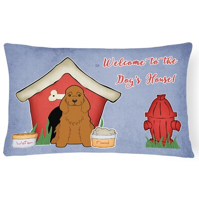 Wildlife Dog House Handmade Indoor/Outdoor Fabric Lumbar Pillow Color: Red