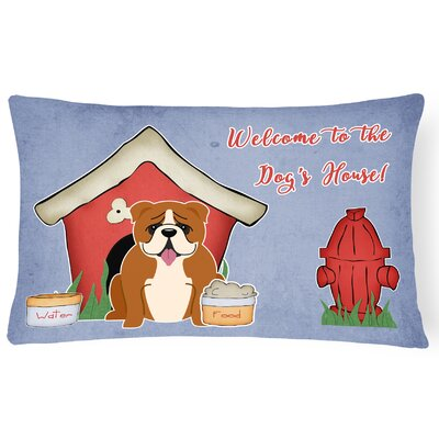 Red/White Dog House Indoor/Outdoor Lumbar Pillow