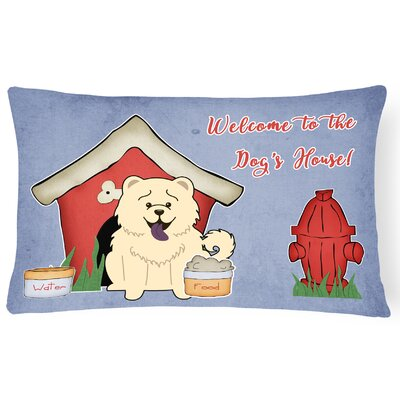 Dog House Soild Indoor/Outdoor Graphic Print Lumbar Pillow Color: White