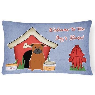Dog House Contemporary Handmade Indoor/Outdoor Fabric Lumbar Pillow