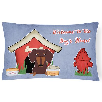 Dog House Indoor/Outdoor Graphic Print Lumbar Pillow Color: Chocolate