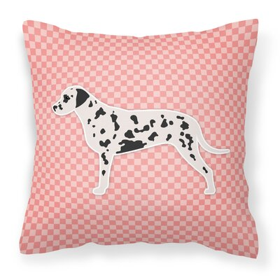 Dalmatian Indoor/Outdoor Throw Pillow Size: 14 H x 14 W x 3 D, Color: Pink