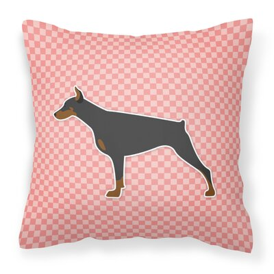 Doberman Indoor/Outdoor Throw Pillow Size: 18 H x 18 W x 3 D, Color: Pink