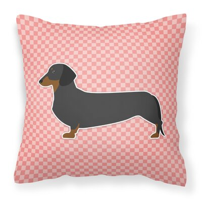 Dachshund Square Indoor/Outdoor Throw Pillow Size: 18 H x 18 W x 3 D, Color: Pink