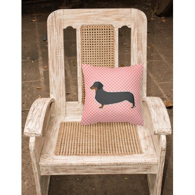 Dachshund Square Indoor/Outdoor Throw Pillow Size: 14 H x 14 W x 3 D, Color: Pink