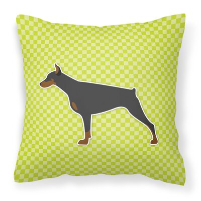 Doberman Indoor/Outdoor Throw Pillow Size: 14 H x 14 W x 3 D, Color: Green