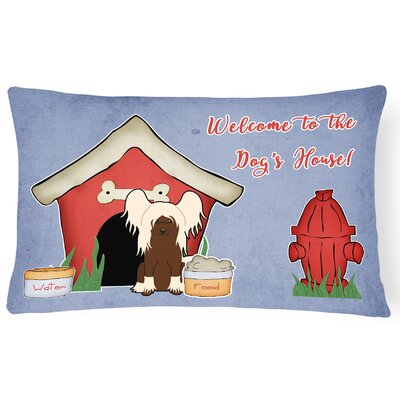 Wildlife Dog House Solid Indoor/Outdoor Fabric Lumbar Pillow Color: Cream