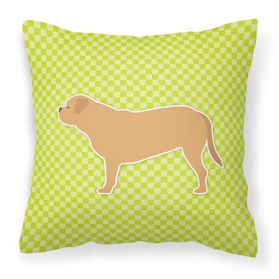 Dogue De Bordeaux Square Indoor/Outdoor Throw Pillow Size: 18 H x 18 H x 3 D, Color: Green
