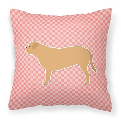 Dogue De Bordeaux Square Indoor/Outdoor Throw Pillow Size: 14 H x 14 H x 3 D, Color: Pink