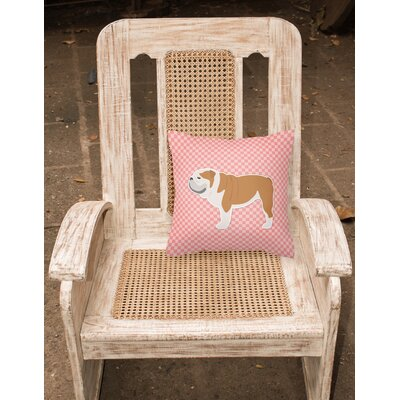 English Bulldog Square Indoor/Outdoor Throw Pillow Size: 14 H x 14 H x 3 D, Color: Pink