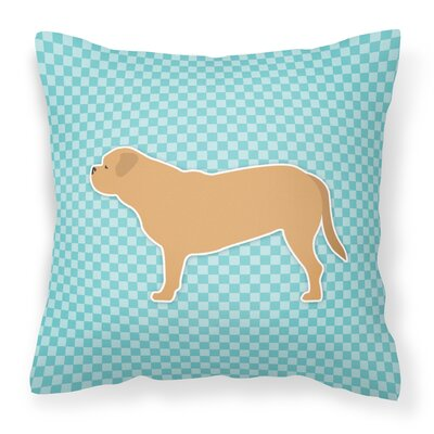 Dogue De Bordeaux Square Indoor/Outdoor Throw Pillow Size: 14 H x 14 H x 3 D, Color: Blue