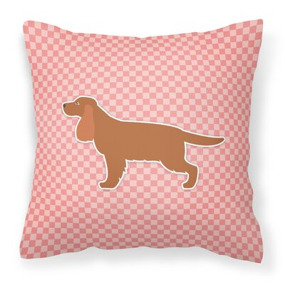 English Cocker Spaniel Indoor/Outdoor Throw Pillow Size: 18 H x 18 W x 3 D, Color: Pink
