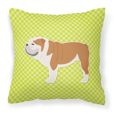 English Bulldog Indoor/Outdoor Throw Pillow Size: 14 H x 14 H x 3 D, Color: Green