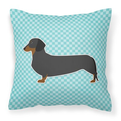 Dachshund Square Indoor/Outdoor Throw Pillow Size: 18 H x 18 W x 3 D, Color: Blue