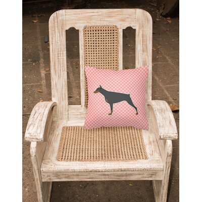 Doberman Square Indoor/Outdoor Throw Pillow Size: 14 H x 14 W x 3 D, Color: Pink