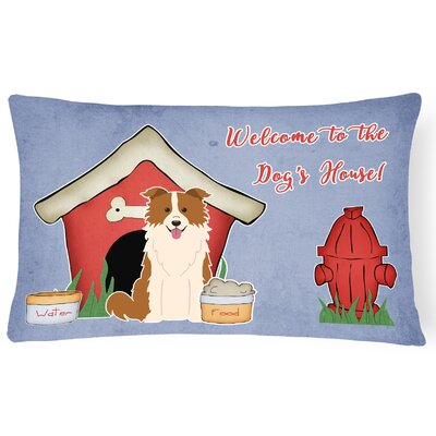 Wildlife Dog House Modern Solid Indoor/Outdoor Lumbar Pillow Color: Red/White