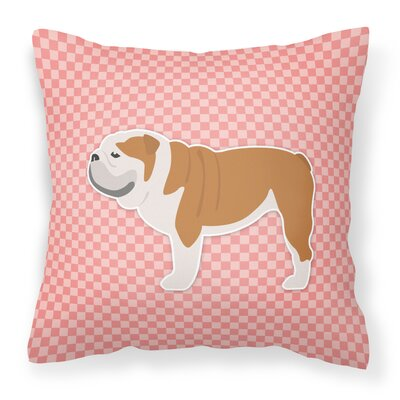 English Bulldog Square Indoor/Outdoor Throw Pillow Size: 18 H x 18 H x 3 D, Color: Pink
