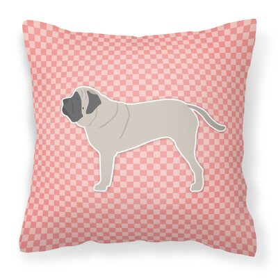 English Mastiff Indoor/Outdoor Throw Pillow Size: 14 H x 14 H x 3 D, Color: Pink