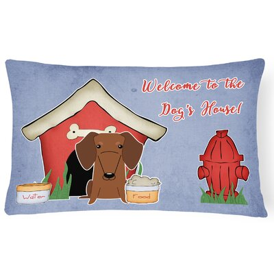 Dog House Indoor/Outdoor Graphic Print Lumbar Pillow Color: Red/Brown