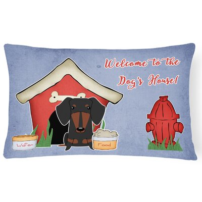 Dog House Indoor/Outdoor Graphic Print Lumbar Pillow Color: Black