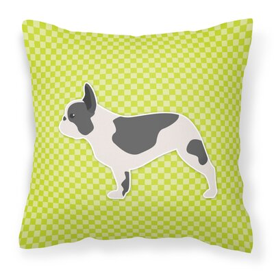 French Bulldog Indoor/Outdoor Throw Pillow Size: 18 H x 18 H x 3 D, Color: Green