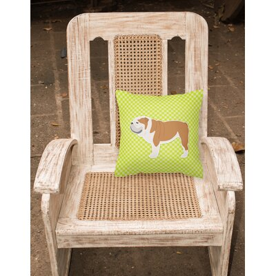English Bulldog Square Indoor/Outdoor Throw Pillow Size: 14 H x 14 H x 3 D, Color: Green