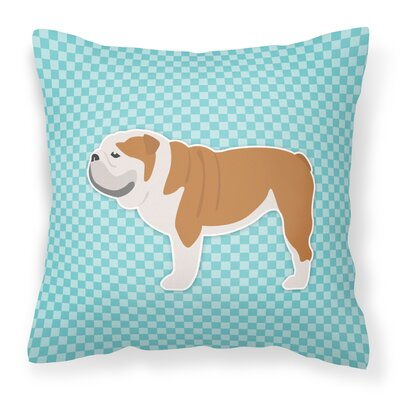 English Bulldog Square Indoor/Outdoor Throw Pillow Size: 14 H x 14 H x 3 D, Color: Blue