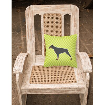 Doberman Square Indoor/Outdoor Throw Pillow Size: 14 H x 14 W x 3 D, Color: Green