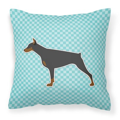 Doberman Indoor/Outdoor Throw Pillow Size: 18 H x 18 W x 3 D, Color: Blue
