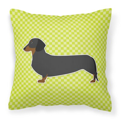 Dachshund Square Indoor/Outdoor Throw Pillow Size: 14 H x 14 W x 3 D, Color: Green