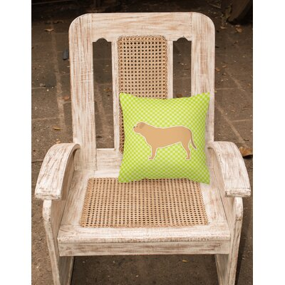 Dogue De Bordeaux Square Indoor/Outdoor Throw Pillow Size: 14 H x 14 H x 3 D, Color: Green