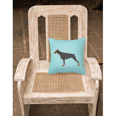 Doberman Square Indoor/Outdoor Throw Pillow Size: 14 H x 14 W x 3 D, Color: Blue