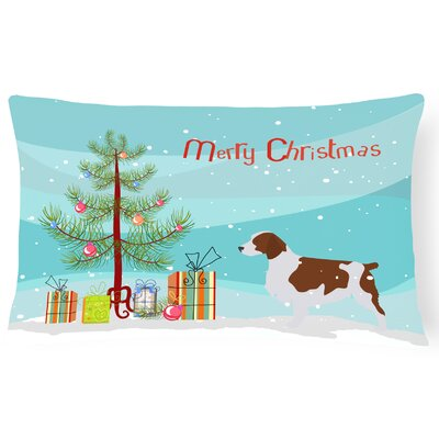 Welsh Springer Spaniel Merry Christmas Tree Indoor/Outdoor Lumbar Pillow