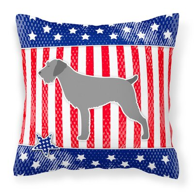 Patriotic USA German Wirehaired Pointer Indoor/Outdoor Throw Pillow Size: 18 H x 18 W x 3 D