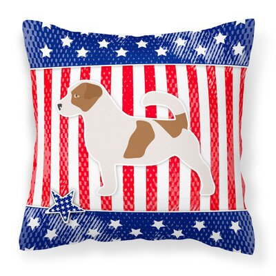 Patriotic USA Jack Russell Terrier Indoor/Outdoor Throw Pillow Size: 14 H x 14 W x 3 D