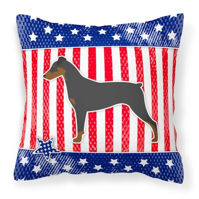 Patriotic USA German Pinscher Indoor/Outdoor Throw Pillow Size: 14
