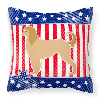 Patriotic Greyhound Indoor/Outdoor Throw Pillow Size: 14 H x 14 W x 3 D