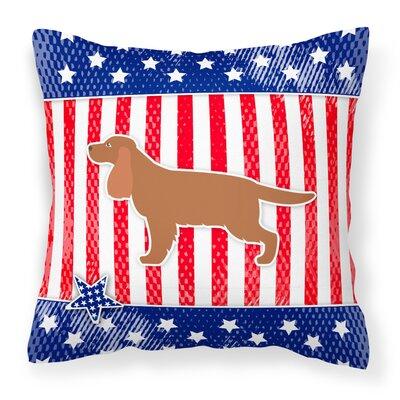 Patriotic USA English Cocker Spaniel Indoor/Outdoor Throw Pillow Size: 14