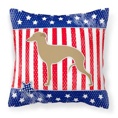 Patriotic USA Italian Greyhound Indoor/Outdoor Throw Pillow Size: 14 H x 14 W x 3 D