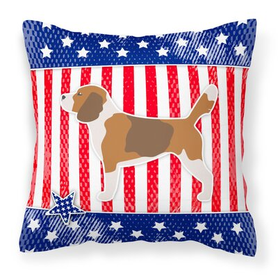 Patriotic USA Beagle Indoor/Outdoor Throw Pillow Size: 14 H x 14 W x 3 D