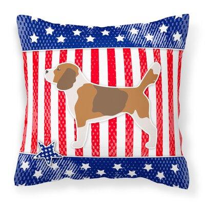 Patriotic USA Beagle Indoor/Outdoor Throw Pillow Size: 14 H x 14 W x 3 D