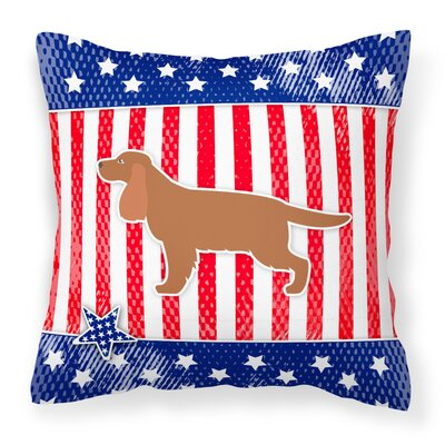Patriotic USA English Cocker Spaniel Indoor/Outdoor Throw Pillow Size: 18