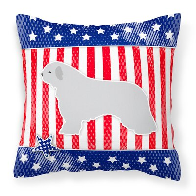 Patriotic USA Spanish Water Dog Indoor/Outdoor Throw Pillow Size: 14 H x 14 W x 3 D