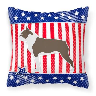 Patriotic USA Boston Terrier Indoor/Outdoor Throw Pillow Size: 14 H x 14 W x 3 D