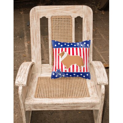 Patriotic USA Collie Indoor/Outdoor Throw Pillow Size: 14 H x 14 W x 3 D