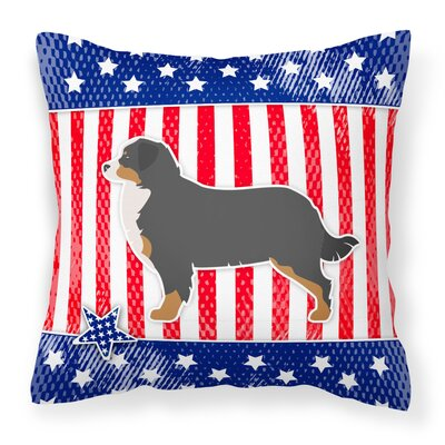 Patriotic USA Bernese Mountain Dog Indoor/Outdoor Throw Pillow Size: 14 H x 14 W x 3 D